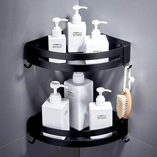 Étagère d'angle de salle de bain - Paniers triangulaires avec 4 crochets amovibles En aluminium Sans perçage 2 étages Fixation murale Pour cuisine et toilettes Noir