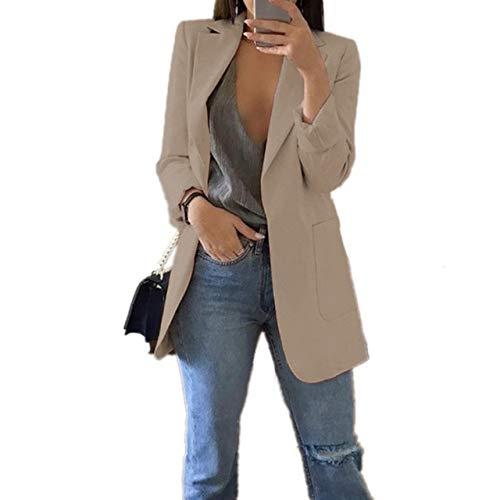 WHBDFY Merk Mode Slanke Blazers Vrouwen Herfst Pak Jas Vrouwelijke Werk Kantoor Lady Pak Pocket Zakelijke Notched Blazer Jas Plus Grootte 5xl 5XL Khaki