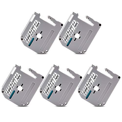 """Unismar Compatible Label Tape Replacement for Brother M Series Tape M-K131 MK131 M-K131s for PT-70BM PT-M95 PT-90 PT-70 PT-65 PT-70SR PT-85 Label Maker, 1/2"""" x 26.2', Black on Clear, 5-Pack"""