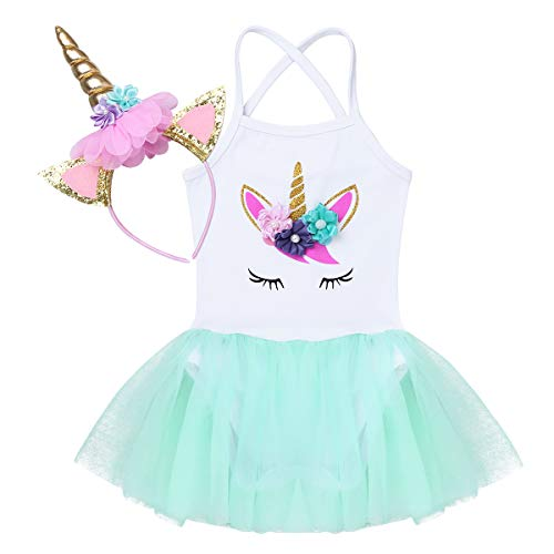 iiniim Vestido Unicornio Princesa para Bebe Niña Diadema Tutú Disfraz Unicornio Traje de Fiesta Cumpleaños Ceremonia Actuación Maillot con Falda Tutu 6-24 Meses Verde 18-24 Meses