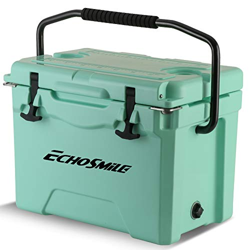 EchoSmile Green 25 Quart Rotomolded Cooler, Keep Ice up to 5 Days, Fit 30 Cans, Heavy Duty Ice Chest(Built-in Bottle Openers, Fishing Rule, Cup Holders and Lockable Corners) for Camping, Fishing
