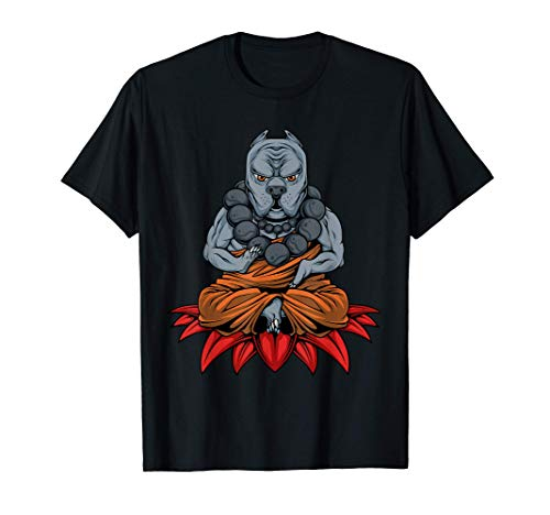 Animal Yoga Pitbull Meditating Buddha Puppy Dog Yogi Namaste Camiseta