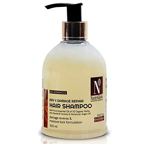 NutriGlow Advanced Organics Bio Advanced Daily Use Dry and Damage Repair Hair Shampoo/Damage Reverse/Moisture Lock Formulation/Argan and Essential Oils/No Parabens/No Sulphates- 300 ml
