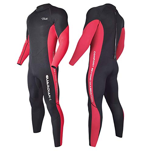 Hevto Wetsuits Men 3mm Neoprene Full Scuba Diving Suits Surfing Kiteboarding Paddle Swimming for Water Sports (Red Men, S)