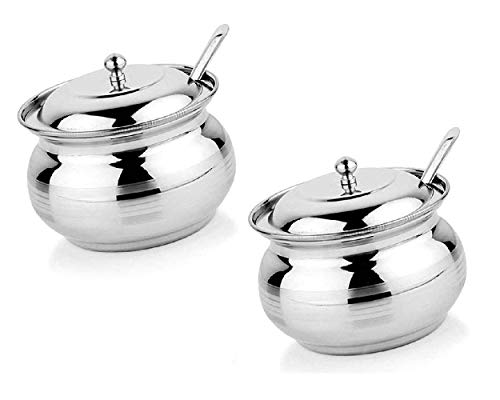 First Front Stainless Steel Ghee Oil Pot Container with Lid and Spoon, Pack of 2 (250 ml each)