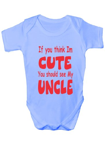 Think I'm Cute See My Uncle ~Funny Babygrow~Babies Gift...