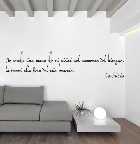 Adesiviamo Confucio M Adesivo Murale, PVC, Nero, 120 x 36 cm