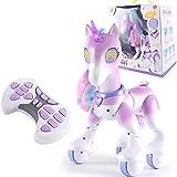 Yiyu Elektronisches Haustier-Spielzeug, Fernbedienung Einhorn, Berührungsempfindliche Sprachaktivierte Interaktive Lernroboter x (Color : Purple)