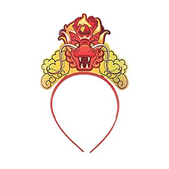Fun Express - Cardboard Dragon Headband for Chinese New Year - Apparel Accessories - Hats - Head Boppers - Chinese New Year - 12 Pieces