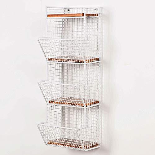 MQQ Montado en la pared de 4 capas cesta de fruta de la vendimia tablero de madera sólida sin perforación estantería estante montado en la pared fruta de la cocina Produce Bin rack de baño cestas de t