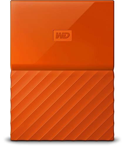 Western Digital My Passport Hard Disk Esterno Portatile, USB 3.0, Software di Backup Automatico, per PC, per Xbox One e PlayStation 4, 2 TB, Arancione