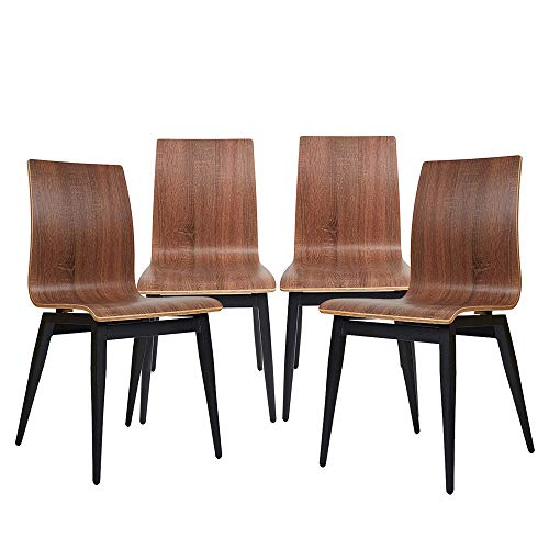 Dining Room Chairs Set for 4 Modern Kitchen Chairs with Wooden Seat and Metal Legs, Dining Side Chair for Indoor and Outdoor, Ergonomic Design, Oak