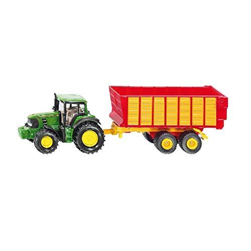 SIKU 1650, Traktor mit Silagewagen, Metall/Kunststoff, Multicolor, Öffenbare Heckklappe