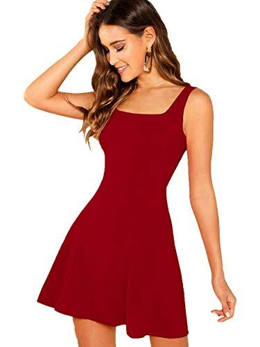 DIDK Damen Ärmellos Kleider Camisole Minikleider Einfarbig A Linie Sommerkleid Elegant Casual Freizeitkleid Strandkleid Trägerkleid Tank Dress Rot#2 XS