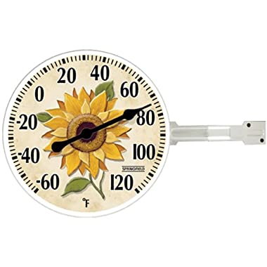 Taylor Precision Products Springfield Thermometer with Wall Bracket (5.25-Inch, Sunflower)
