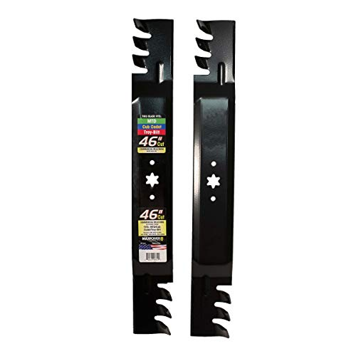 "MaxPower 561544XB Commercial Mulching Blade Set for 46"" Cut MTD/Cub Cadet/Troy-Bilt Replaces OEM No. 942-04290, 23.5x3 inches, Black"