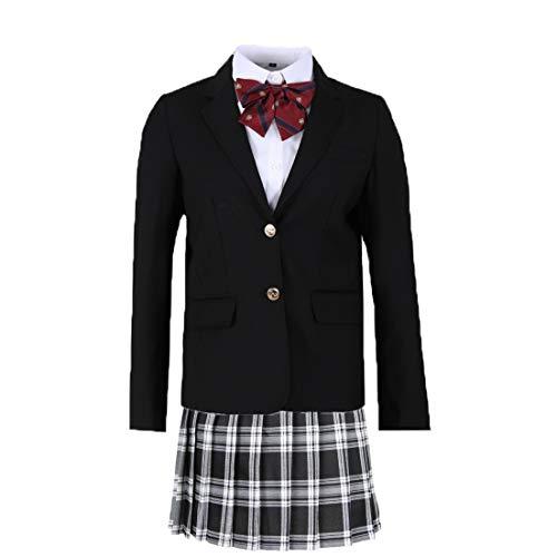 女子高生 スーツ 卒業式 入学式 冠婚葬祭 ブレザー ブラウス スカート ワッペン 女の子 JK制服 女子高生制服 スクール 高校生 學院風 フォーマル 4点セット (XL, ブラック)