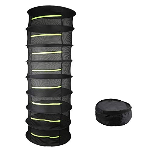 8 Layer Herb Drying Rack Black Collapsible Nylon Plant Hanging Mesh Drying Rack Net Hanging with Yellow Zipper