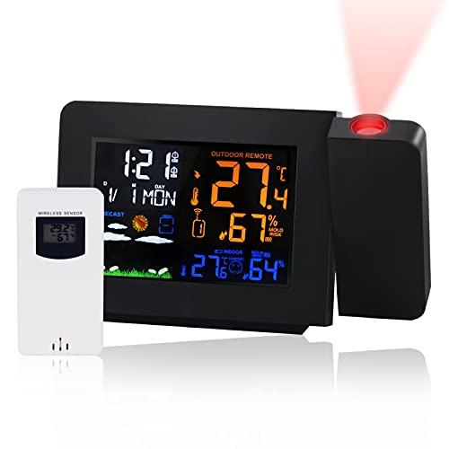 Ruiccsy Wetterstation Funk mit Außensensor Projektionswecker, Farbdisplay Digital Wetterstation Innen und Außen Thermometer Hygrometer, Funkwetterstation mit Wettervorhersage (Schwarz)