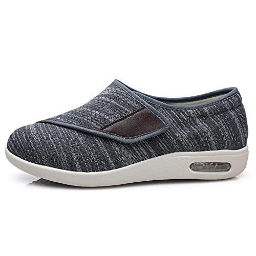 CCSSWW Zapatillas con Adhesivo Ajustable,Zapatos DiabéTicos para Hombre Ajustable-Gris Oscuro_37,Unisex Punta Abierta Ancho Ajustable