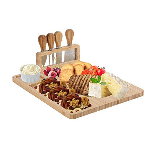 YCOCO Bamboo Cutting Platter Cheese BoardCharcuterie Platter Serving Meat Board with 4 Stainless Steel Knife and Serving UtensilsServing Tray for WineCrackersBrieFruitsBread and Meat