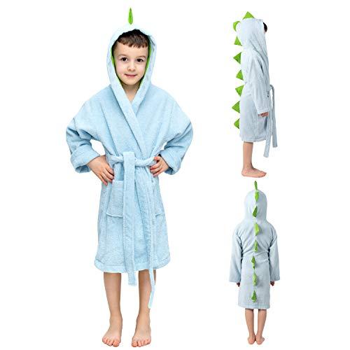 Twinzen Kinderbademantel Dinosaurier Junge und Mädchen - 100% Baumwolle OEKO-TEX®