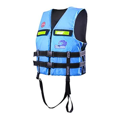 FSDH Chaqueta de Rescate de Nylon Impermeable, con cinturón de Seguridad Ajustable, Adulto Barco portátil natación de natación de Emergencia Kayak Pesca Chaleco salvavida Blue-S