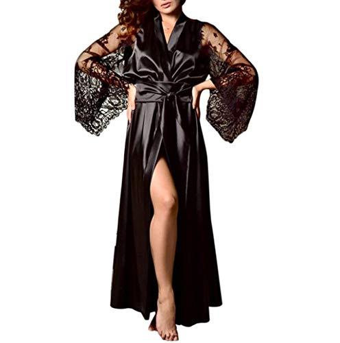 Nachtwäsche Damen Spitze Negligees Morgenmantel Lange Kimono Robe Satin Bademantel Nachthemd