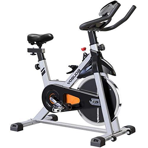 YOSUDA - Bicicleta estática de interior, para ciclos de ejercicio, con soporte para tablet y cojín de asiento cómodo (gris)