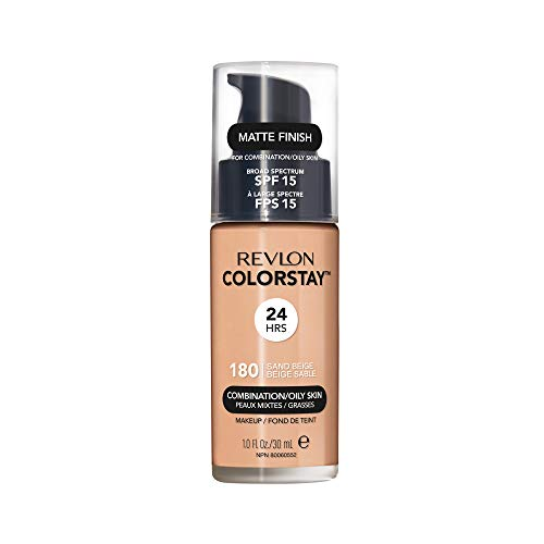 Revlon ColorStay Liquid Foundation Makeup for Combination/Oily Skin SPF 15, Longwear Medium-Full Coverage with Matte Finish, Sand Beige (180), 1.0 oz