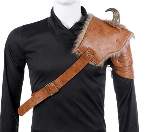 ZTYD Viking Armour Costume d'halloween Cosplay en Cuir PU Adulte Hommes Médiéval Viking Armorparty Costume Accessoires - Une Taille,A