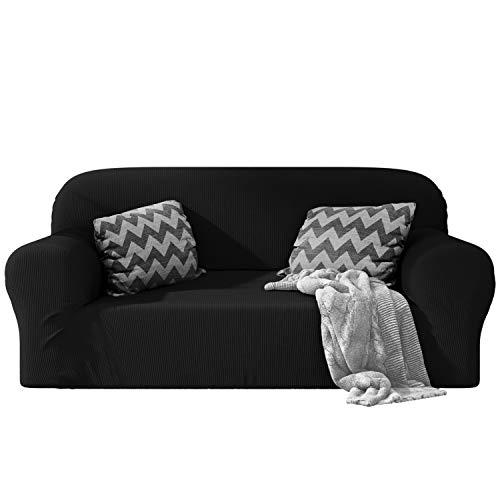 Dreamzie - Sofabezug 2 Sitzer Elastische - Schwarz - Oeko-TEX® - Sofa Überzug 60{ce1a8a79275cd3e10cfa6e7ef853688f0de5e3a5489342dfac6713ed69cdd282} Recycelter Baumwolle - Made in Europe