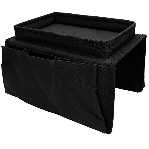 Bolsa de Almacenamiento para sillón, con una Bandeja Superior Bolsa de Almacenamiento para sofá, para pequeños Dispositivos Diarios de Almacenamiento en sofá(Black)
