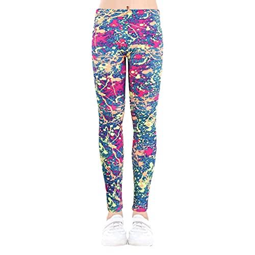 MisFox Leggings para niña, elásticos, largos, hasta el tobillo, de algodón, estampado de flores, para 2-13 años, Barnices de color, 130 cm (delgado)