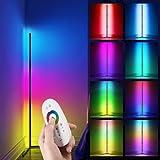 Lámpara de pie LED regulable con mando a distancia, lámpara de pie de esquina regulable sin niveles, cambio de color RGB, temperatura de color/brillo, lámpara de esquina para salón dormitorio