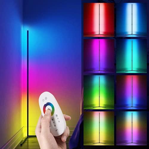 Foonii LED Stehlampe Dimmbar mit Fernbedienung, Eck Standleuchte Stufenlos Dimmbar Farbwechsel Lichtsaeule RGB Farbtemperaturen/ Helligkeit, Ecklampe Stehlampen für Wohnzimmer Schlafzimmer