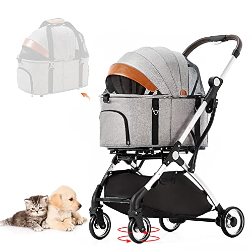 Cochecito para perros, carrito para gatos con cesta de almacenamiento para mascotas, cochecito plegable, impermeable, 600D Oxford para viajes y paseos (01Gris)