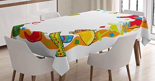 Ambesonne Fiesta Tablecloth, Cartoon Drawing Style Mexican Pinata Taco Chili Pepper Sugar Skull Pattern Guitar, Dining Room Kitchen Rectangular Table Cover, 52' X 70', Red Orange