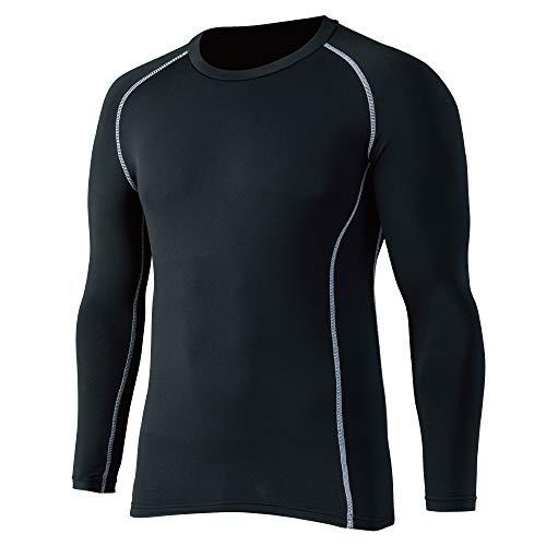 おたふく手袋 ボディータフネス 保温 コンプレッション パワーストレッチ 長袖 クルーネックシャツ JW-174 ブラック M