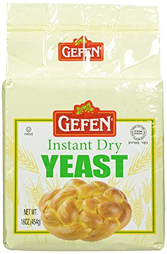 Gefen Instant Natural Dry Yeast, 1 LB Bag, Great for Breads & Challah, Certified Kosher