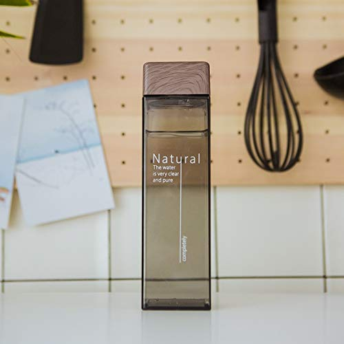 ZYSTMCQZ Botella de 450 ml de Agua Libre de BPA Plaza de Botellas de plástico Bebida Deportiva Resistente al Calor Transparente (Capacity : 450ML, Color : Black)