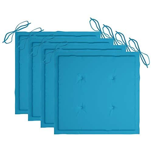 vidaXL 4X Cojines de Silla de Jardín Asiento Tumbonas Patio Terraza Exterior Acolchado Almohadilla Cómoda Práctico Tela Azul Real 50x50x4 cm