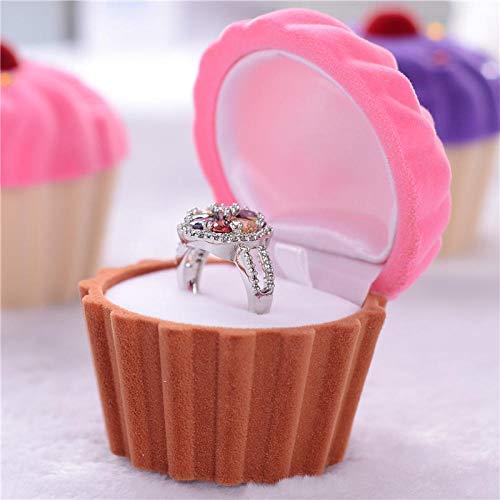 Ice cream diamond jewelry box fashion cartoon flannel pendant box necklace box jewelry box-Pinkish brown_62X62X54mm