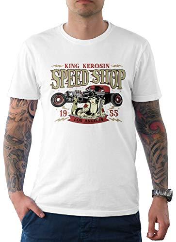 King Kerosin Herren T-Shirt Tee Speed Shop Los Angeles Weiß L