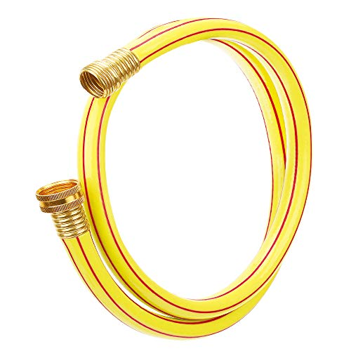 Solution4Patio Homes Garden 4 ft. Short Garden Hose 5/8 inch Yellow Lead-Hose Male/Female Commercial Brass Coupling Fittings for Water Softener, Dehumidifier, RV Filter and Camp Water Tank #G-H153A06