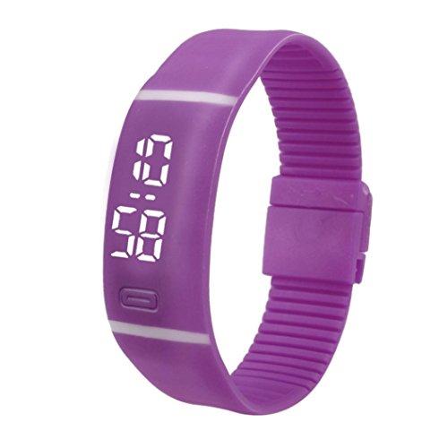 QinMM Reloj Digital Pulsera Deportiva de Silicona, con Pantalla LED, para Correr Running, para Mujer y Hombre, Unisex (Morado)