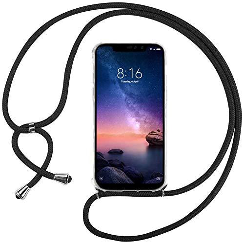 Ingen Funda con Cuerda para Xiaomi Redmi Note 6 Pro - Carcasa Transparente TPU Suave Silicona Case con Colgante - Negro