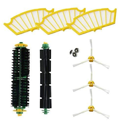 ASP-ROBOT Recambios compatible con Roomba serie 500 521, 530, 531, 532, 535, 545, 550, 552, 555, 560, 562, 564, 565, 570, 571, 580, 581, 585. Filtro aire, cepillo lateral, rodillo y accesorios
