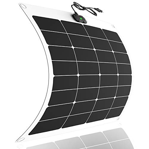 50 Watt 12V Flexible Solar Battery Charger & Maintainer - 50W Ultra Lightweight ETFE Solar Panel with Built-in Intelligent MPPT Charge Controller + 3 Stages Charging for Car, RV, Boat, Trailer, Roof
