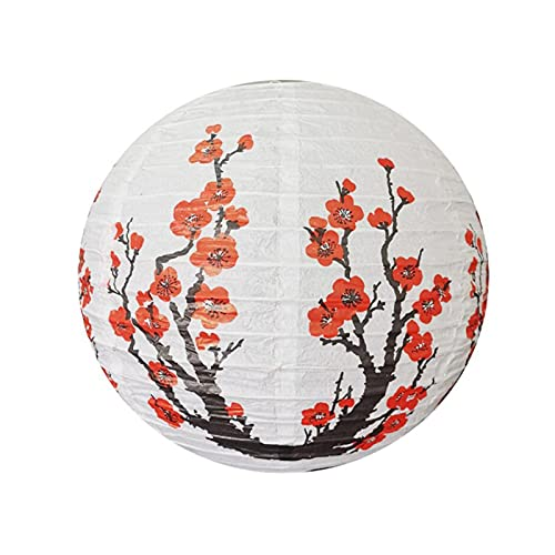 CAIFEIYU 3pc Red Plum Blossom Paper Linternas 30/35 / 40cm Chino Japón Festival Papel Linternidad Sakura Cubierta de araña Cubierta Boda Decoración (Color : As Photo, Lantern Size : 35cm)